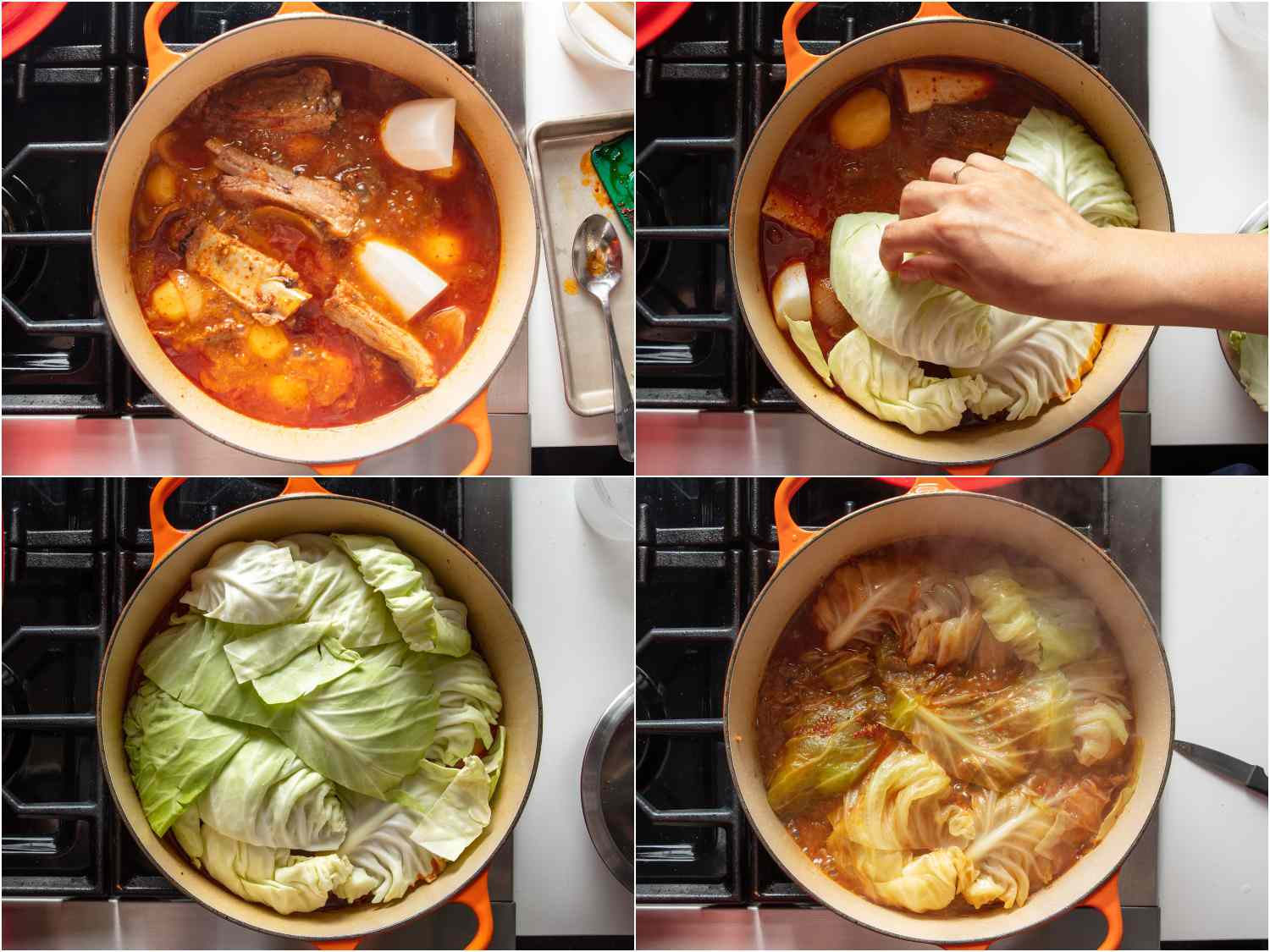 Adding green cabbage leaves to form a lid and simmering with stew
