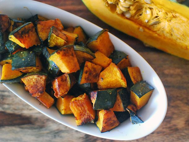 Serving bowl of roasted kabocha with soy butter and shichimi togarashi