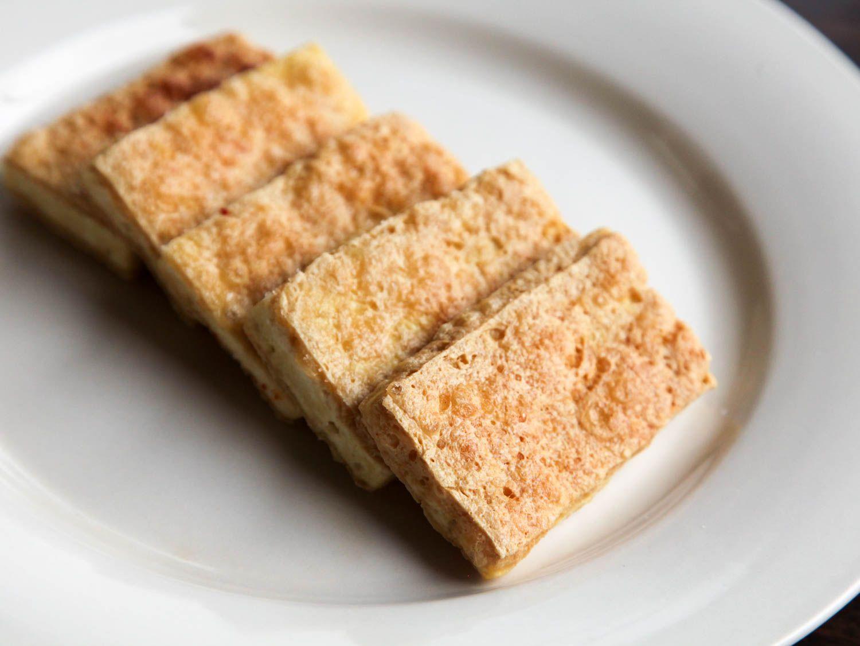A plate of crispy fried tofu.