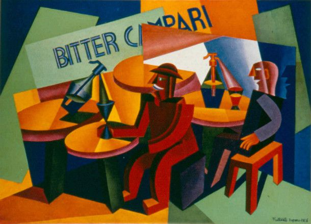 Cubist Campari artwork showing men drinking in a cafe.