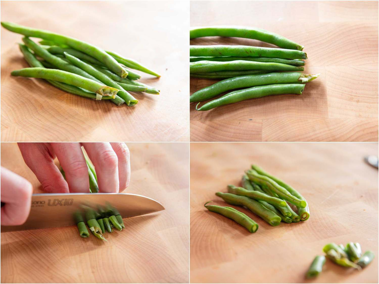 Photo collage of trimming the broken, gnarly tops off of green beans.