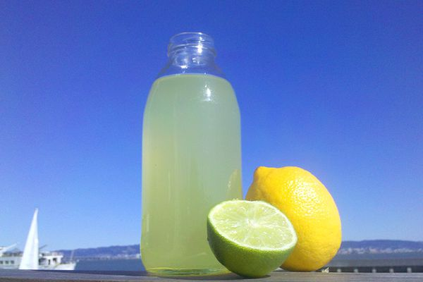 A glass bottle of homemade sour mix. A half a lime and a whole lemon are next to the bottle.