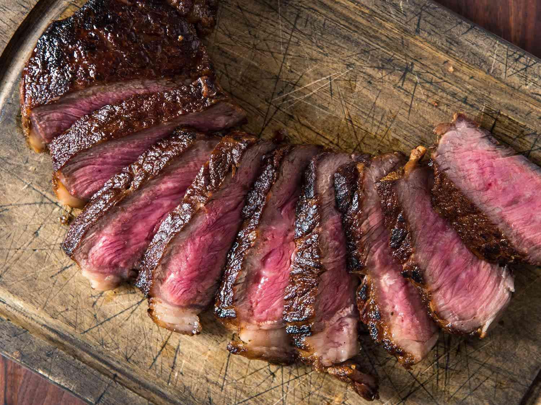 Slices of butter basted steak