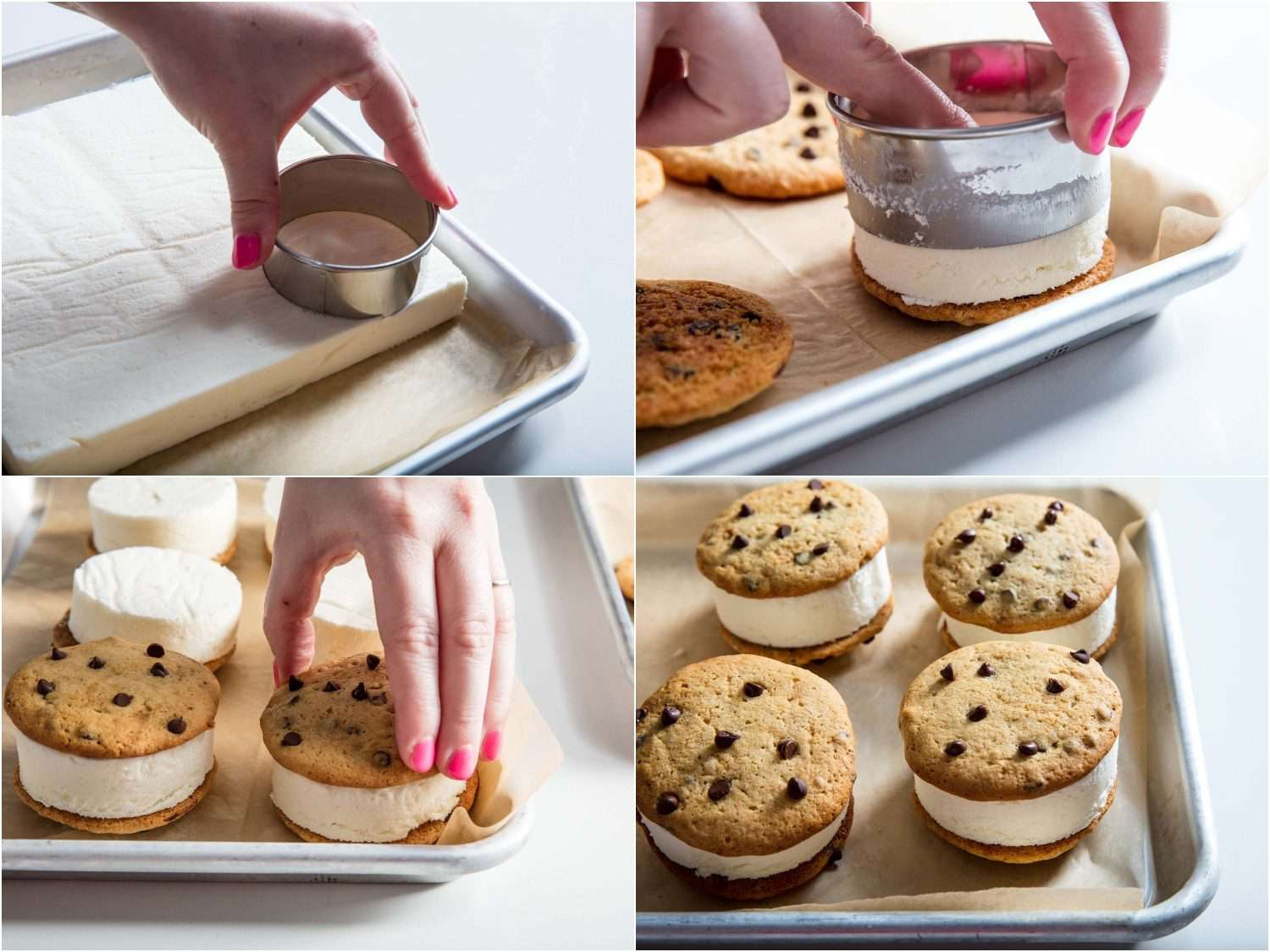 cutting the ice cream with a circular cookie cutter for homemade chipwiches