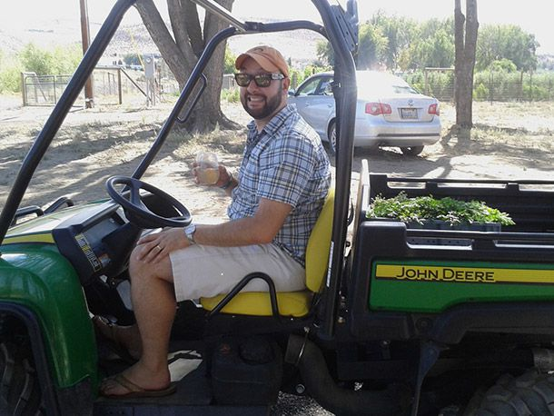 sommelier in a tractor