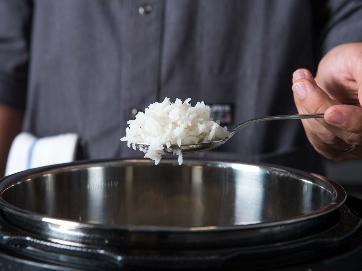 fluffy white rice coming out of Instant Pot multi-cooker
