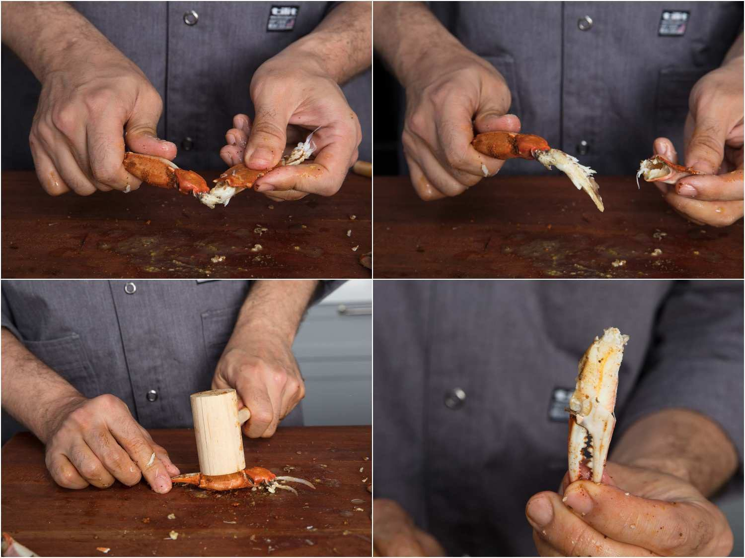 Breaking crab legs in half, cracking with a mallet, the detached crab claw