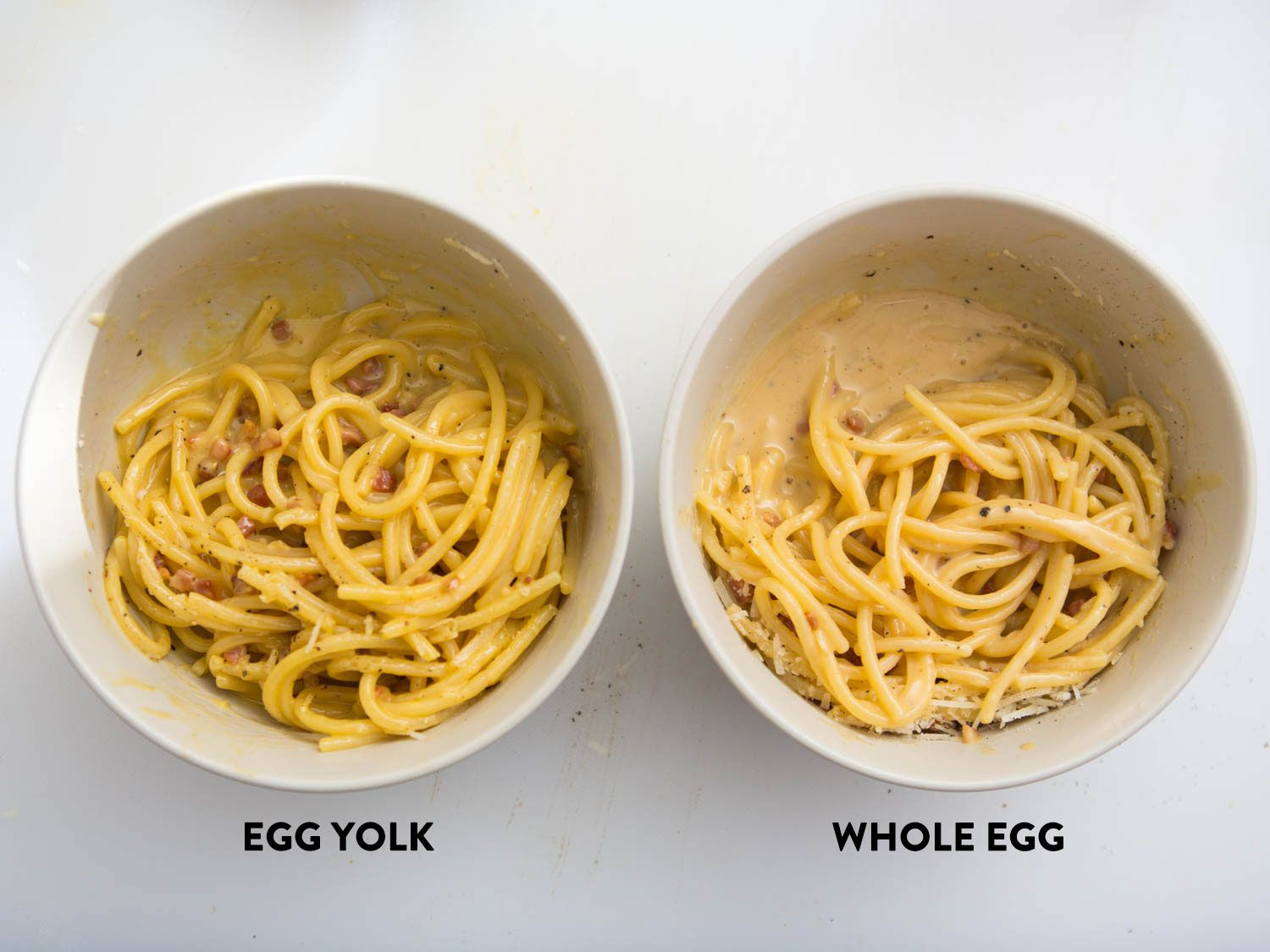 Side-by-side photo showing spaghetti carbonara made with yolks and whole eggs.