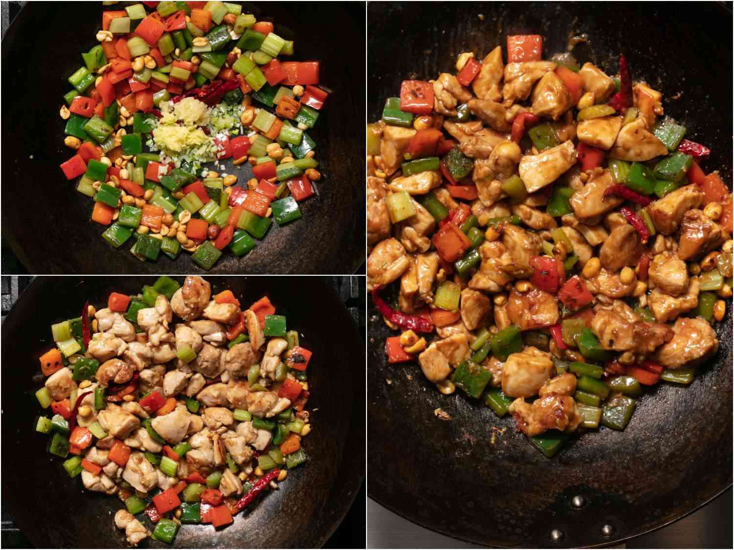 Photo collage showing finishing takeout-style kung pao chicken in a wok: adding aromatics, adding chicken, and adding sauce.