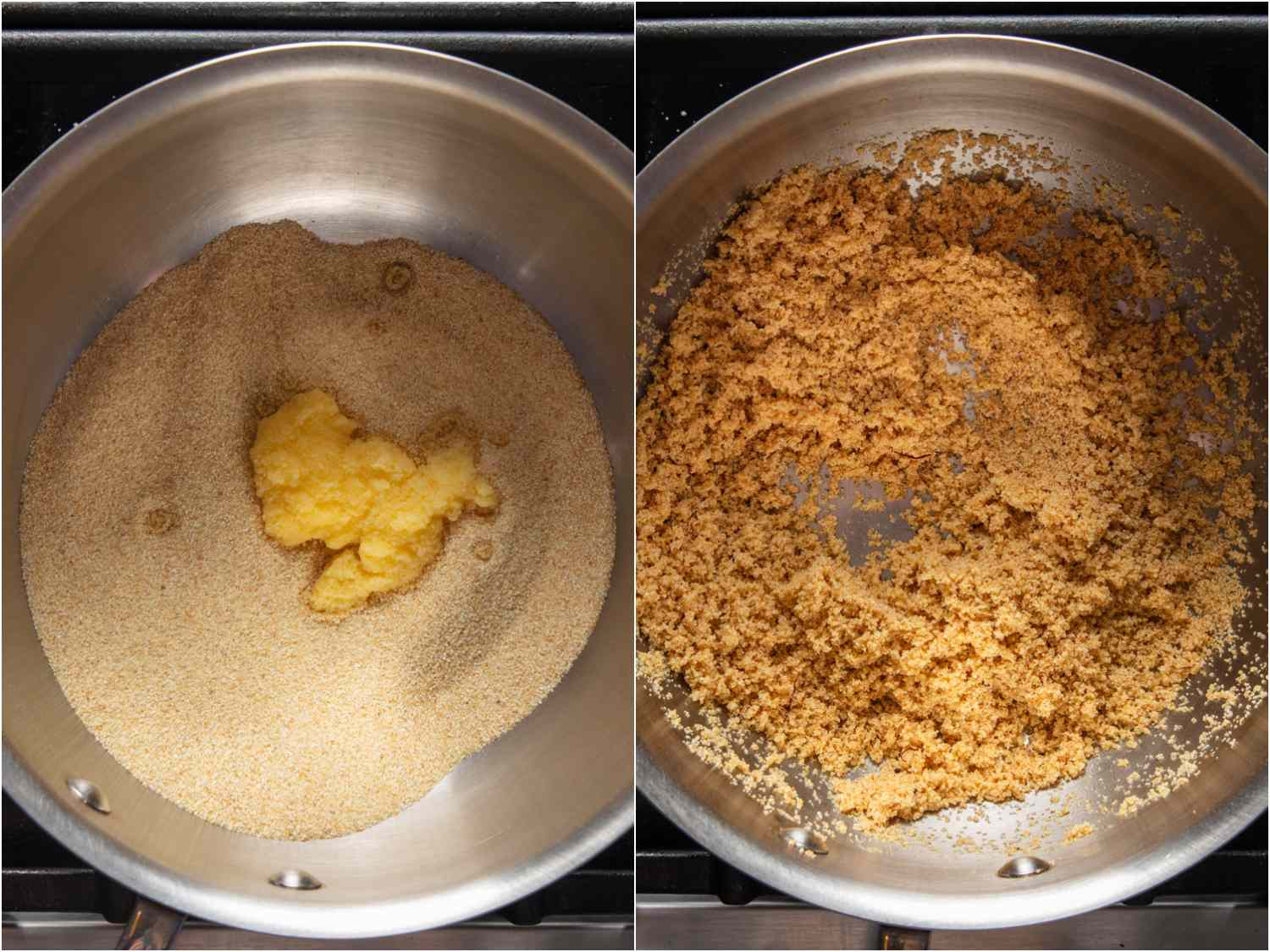 Semolina and ghee mixed together in a saucepan