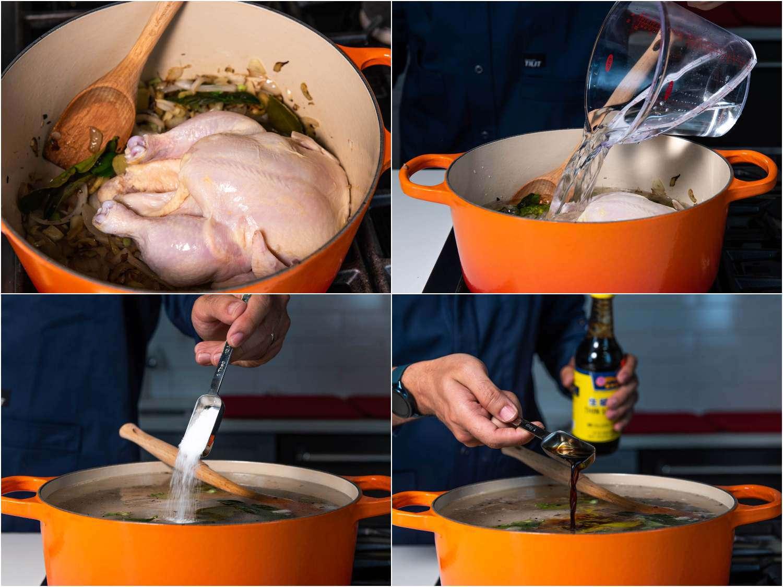 Adding chicken to khao piak sen