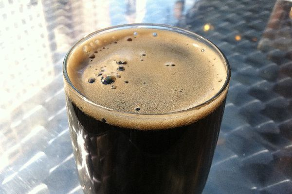 A glass of homemade dry stout.