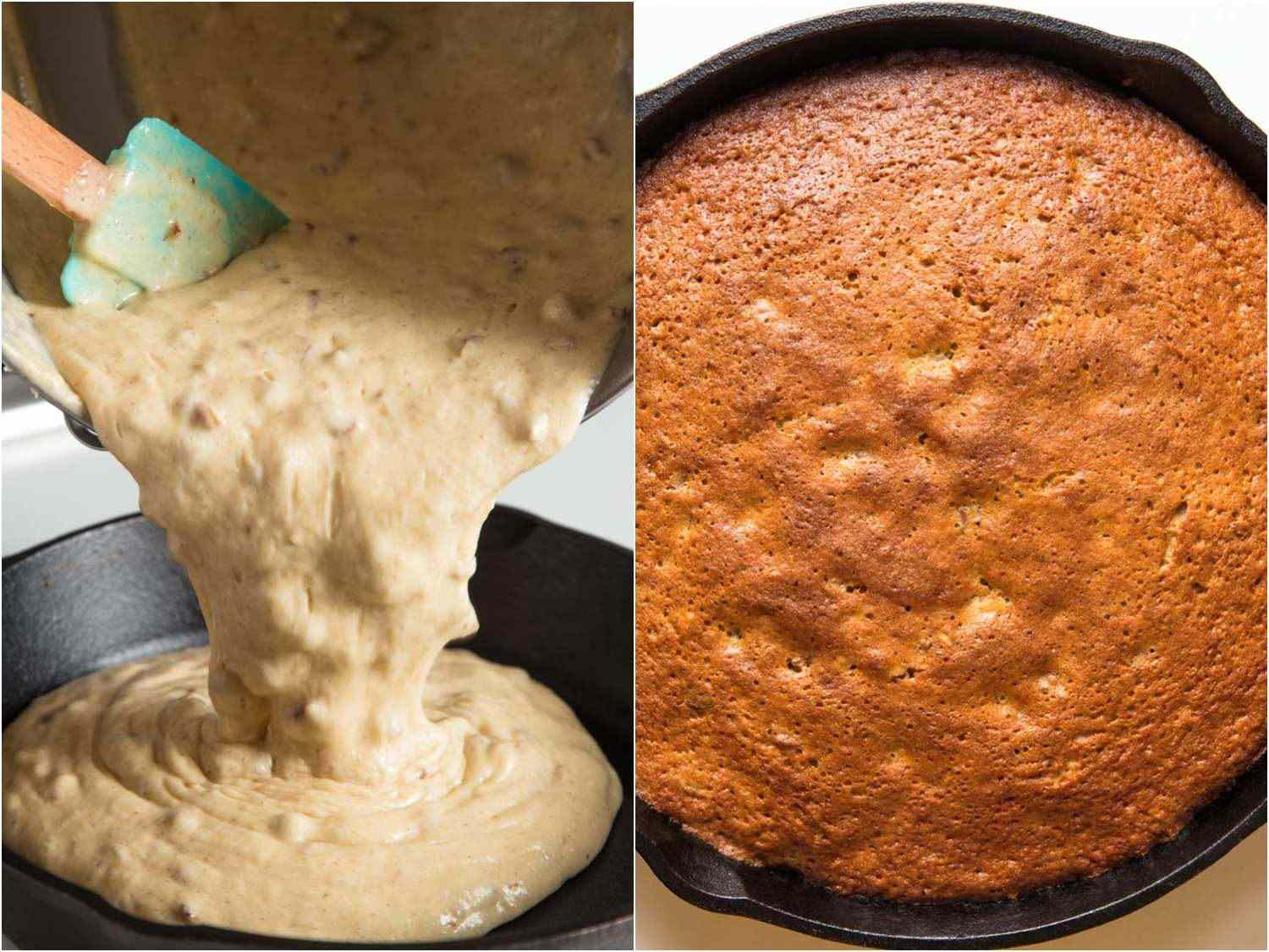 Side-by-side of raw cake batter and baked skillet cake.