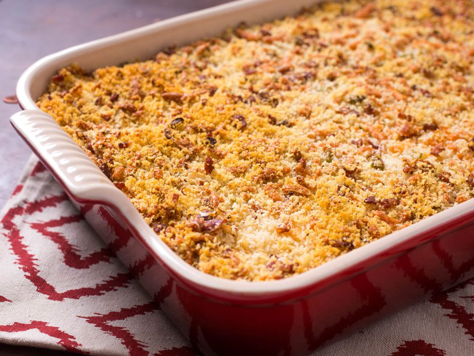 Crispy Mashed Potato Casserole With Bacon, Cheese, and Scallions
