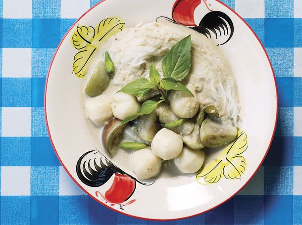 Green Curry Fish Balls with Eggplant