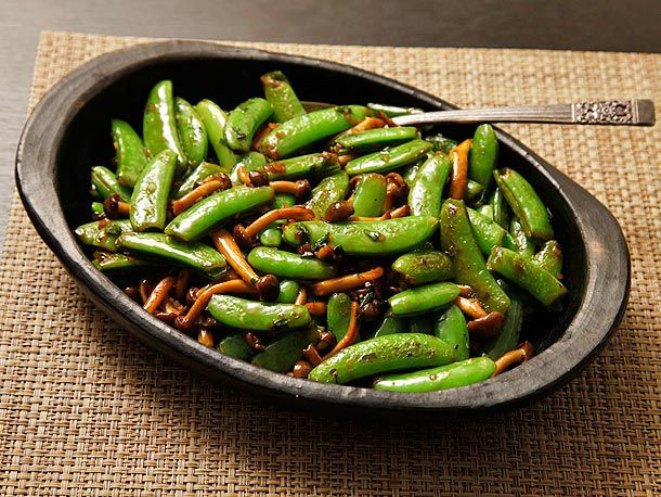 Stir-Fried Snap Peas and Mushrooms with Fish Sauce and Basil
