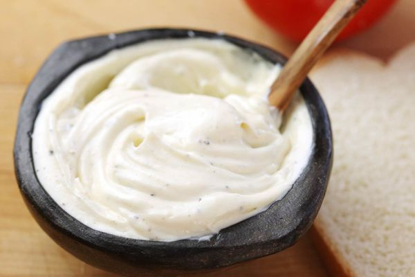 A small bowl of homemade mayonnaise