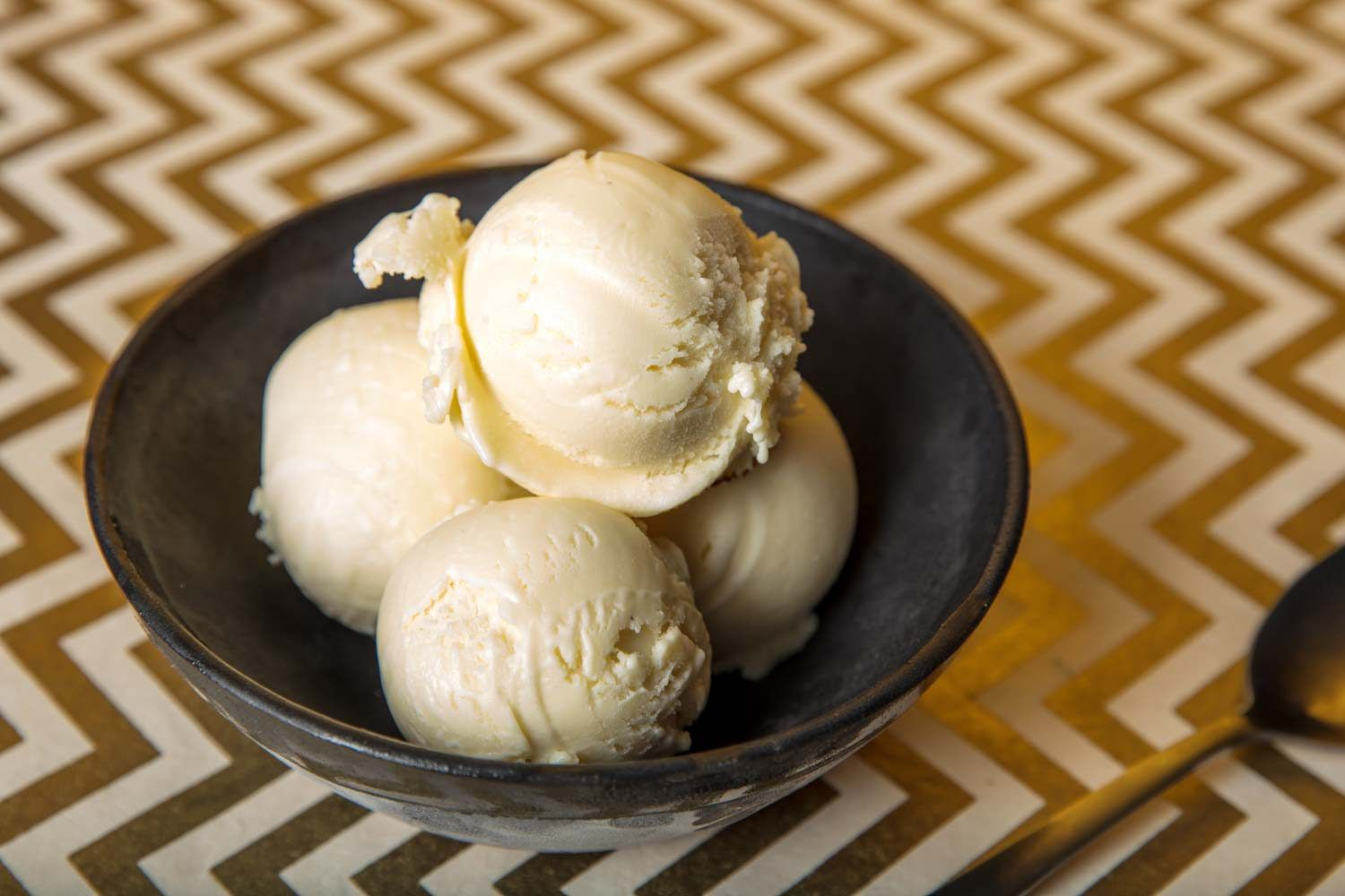 scoops of buttermilk ice cream in a bowl