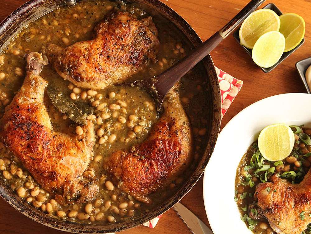 Braised Chicken with Green Chile and White Beans