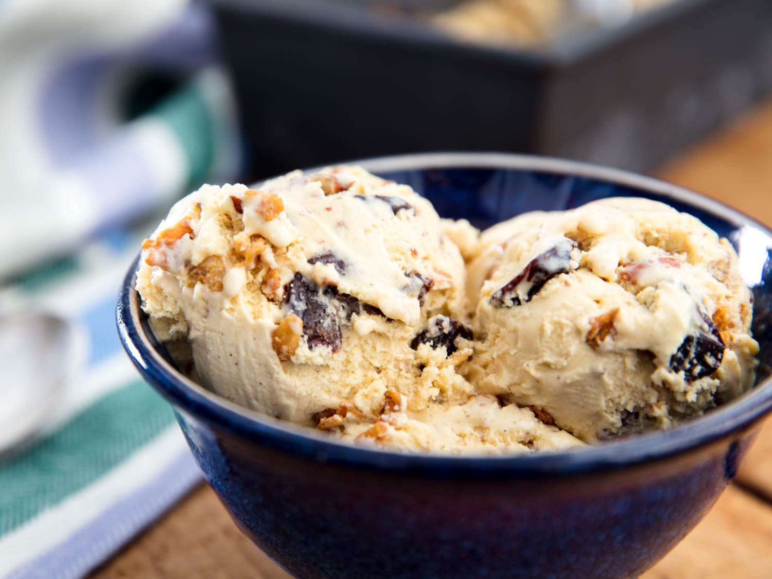 A big blue bowl of oatmeal cookie ice cream