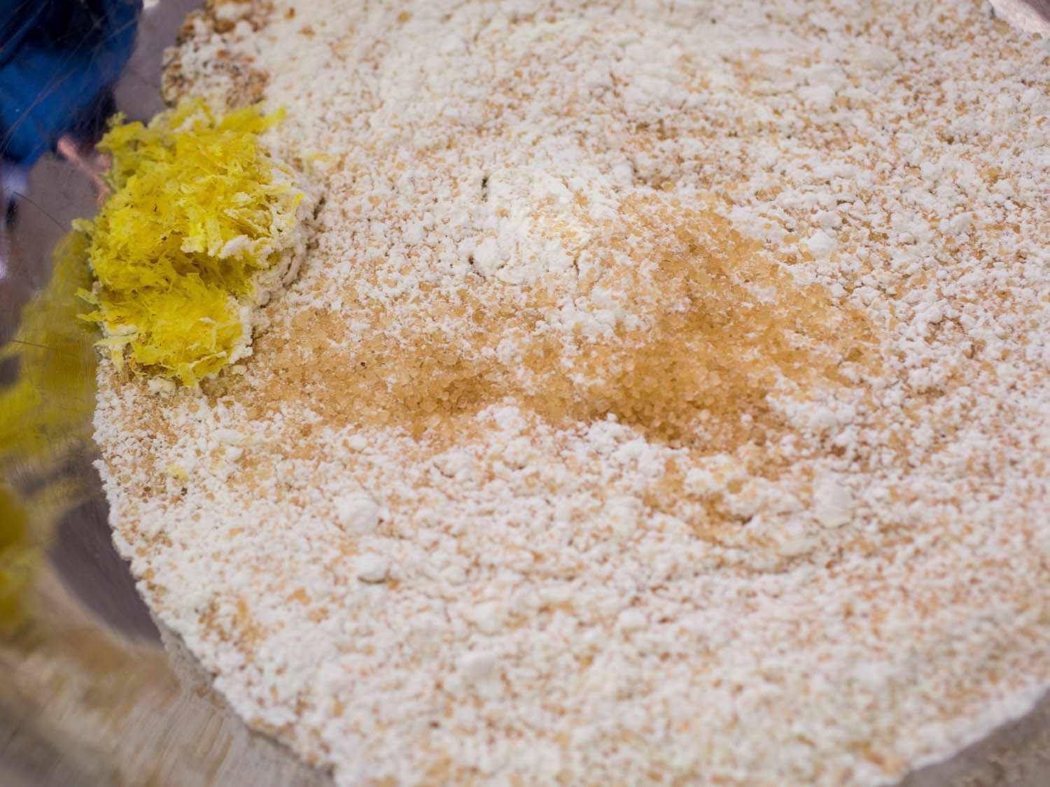 Flour, sugar, and lemon zest for crumb topping
