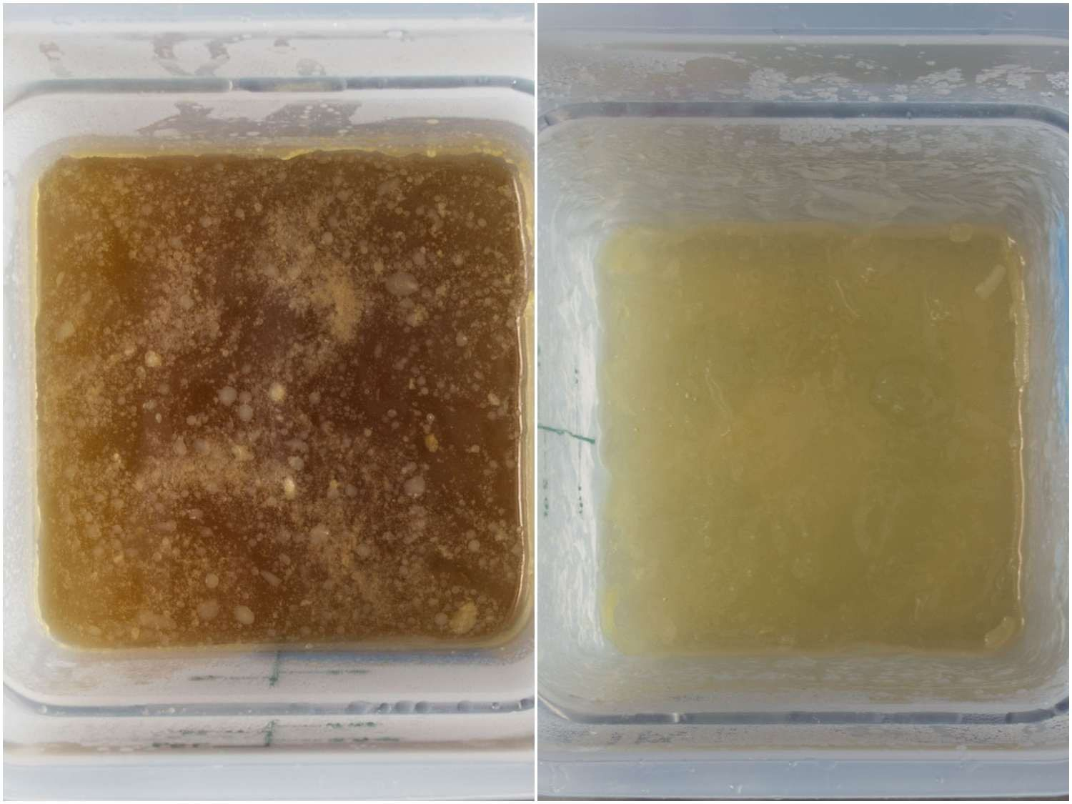 Side by side comparison of broth in which vegetables have been simmered versus broth in which vegetables have been steeped