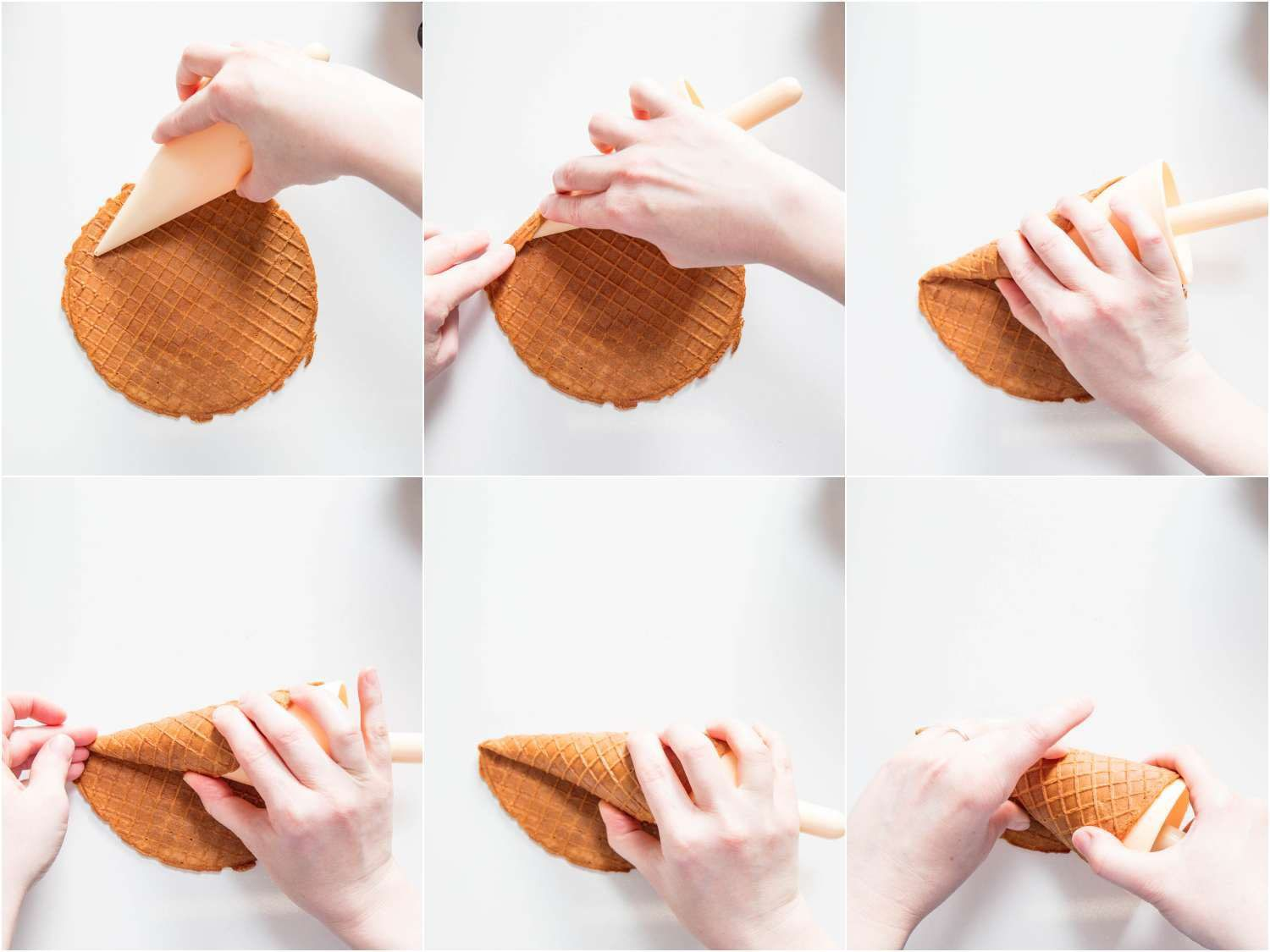rolling the waffle cone