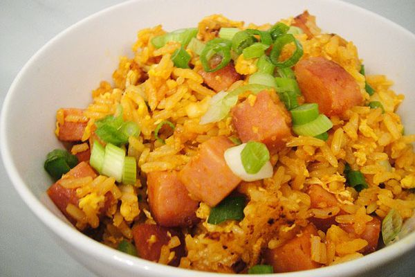 Siracha and spam fried rice