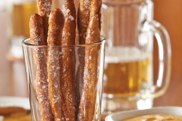 Pretzel rods in a glass