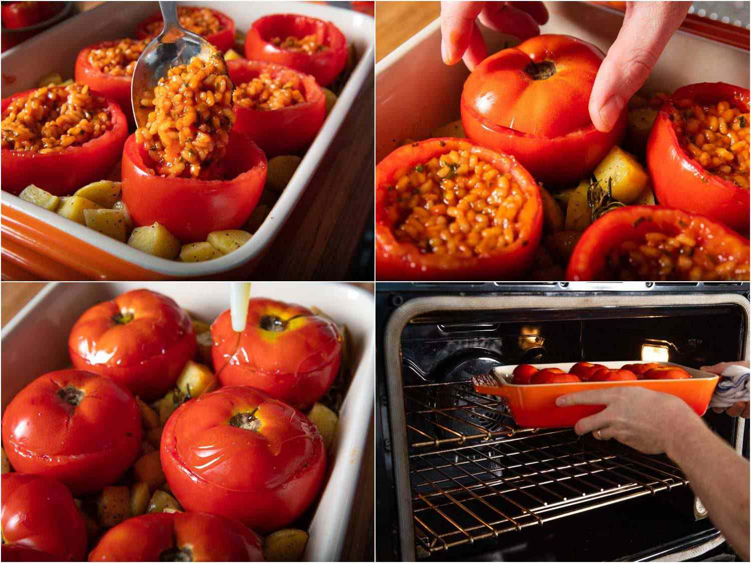 Photo collage of filling hollowed-out tomatoes with rice stuffing, and roasting them in a baking dish with potatoes.