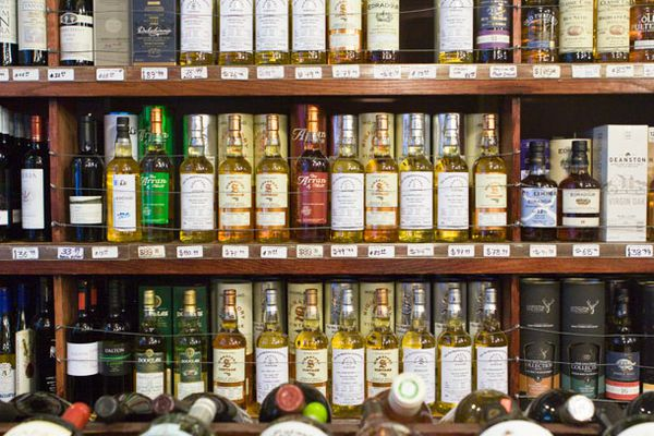 Wines and spirits in a liquor store