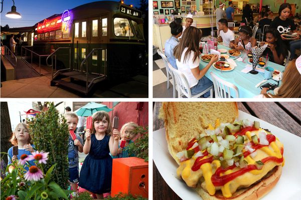 Photo collage showing family-friendly restaurants in Philadelphia.