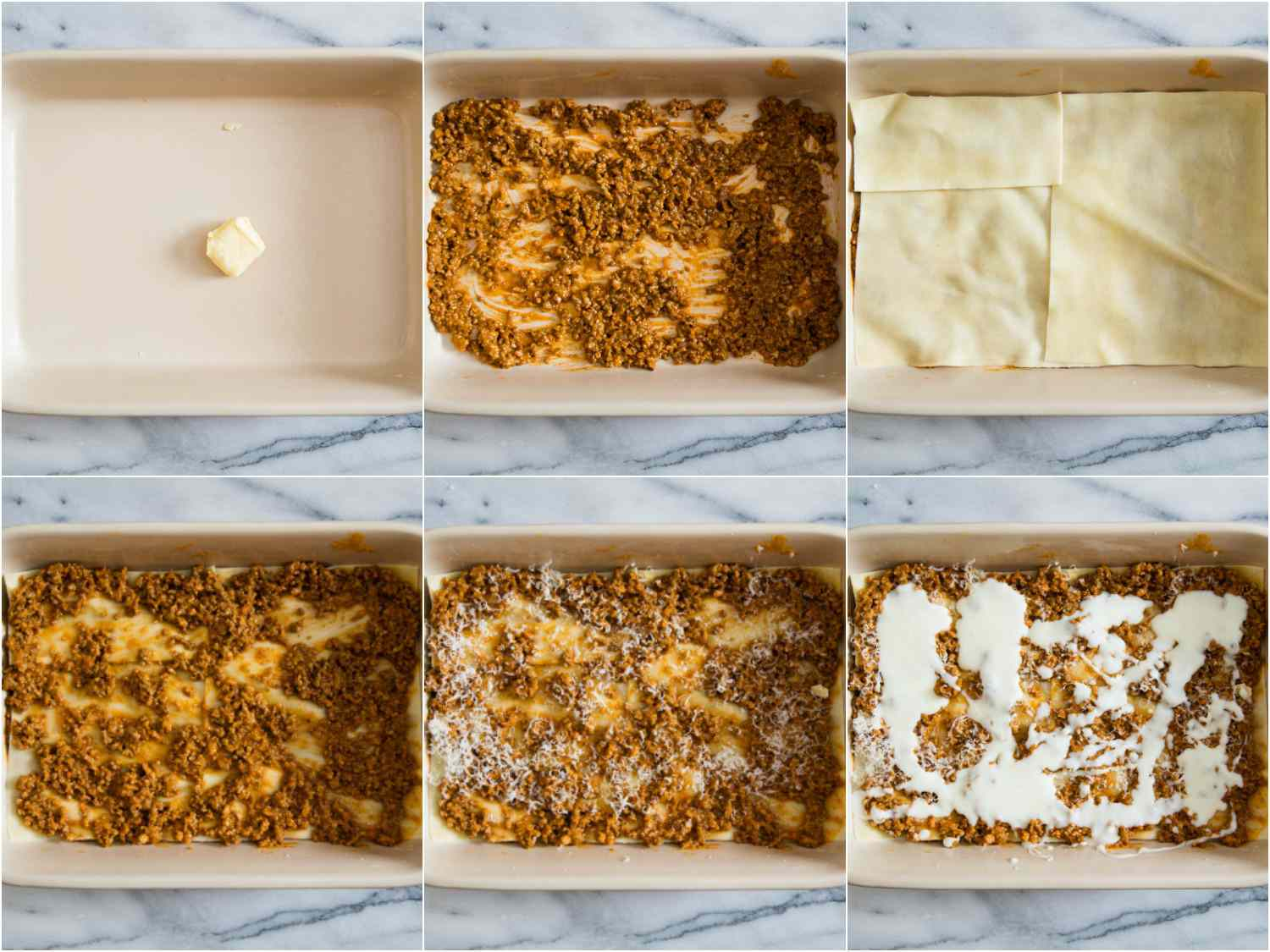 Photo collage of lasagna bolognese being assembled in layers.