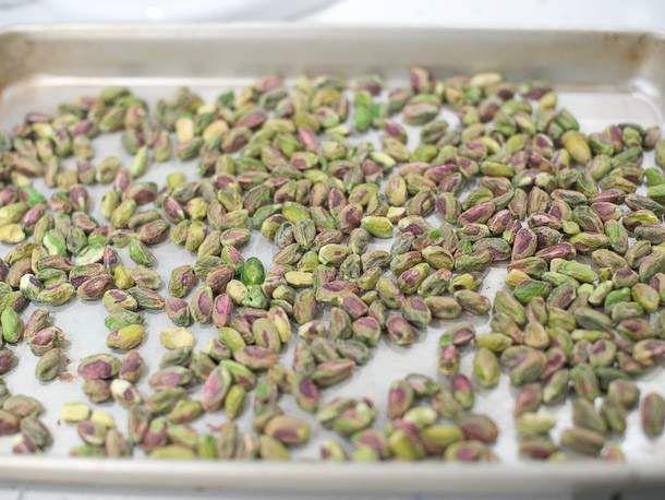 nuts on baking sheet