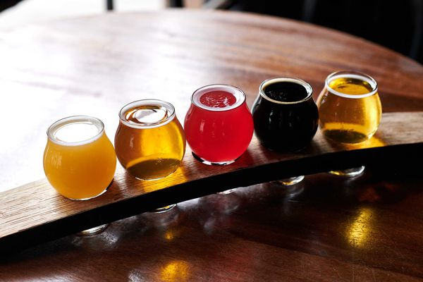 a tasting flight of beer in portland