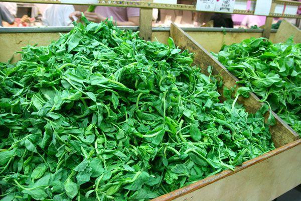 pea shoots at the market