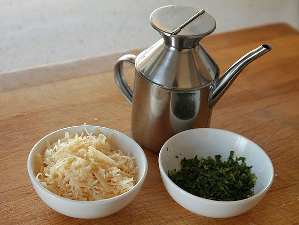 Grated parm, chopped fresh parsley and basil, and extra-virgin olive oil