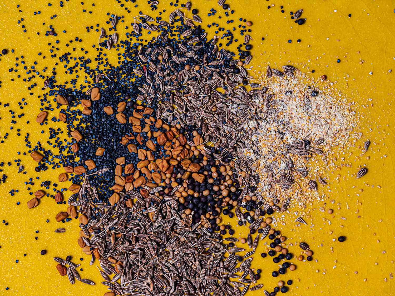 A variety of spices on a bright yellow background