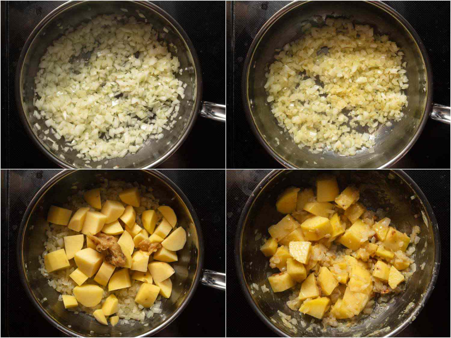 collage: sweating onions; potatoes and roasted garlic added; everything mixed together