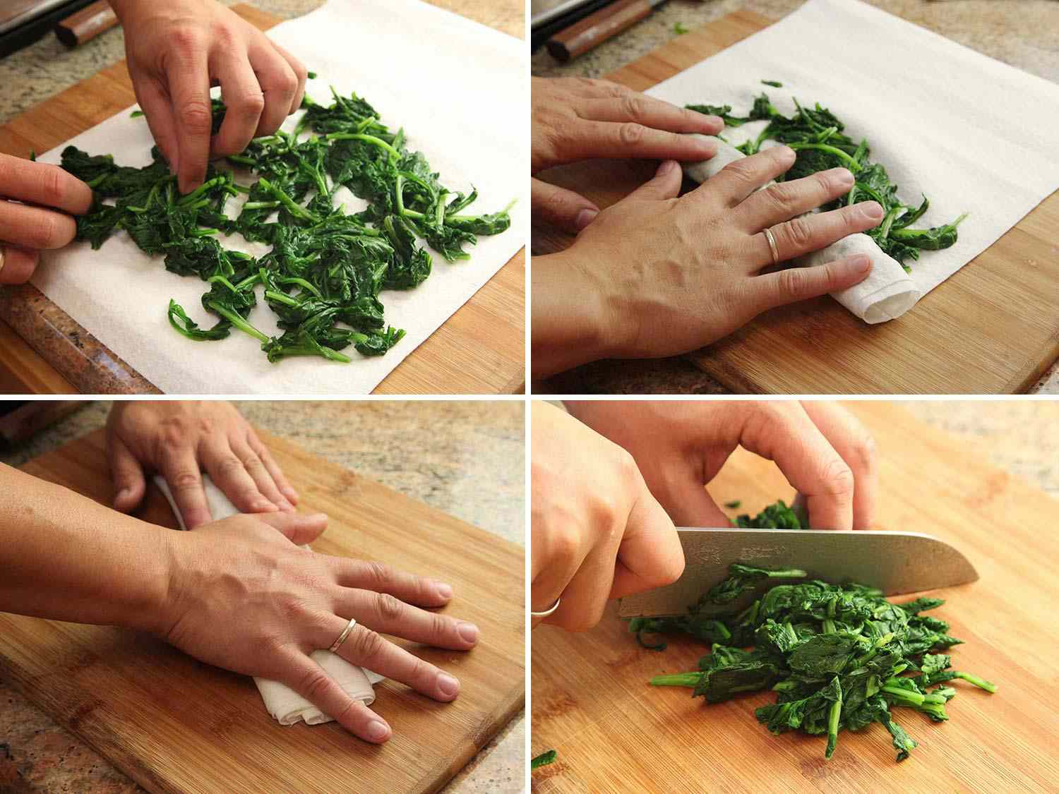Drying spinach with towel