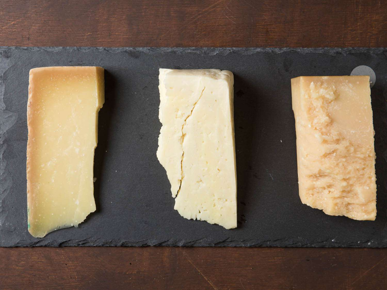 Cheeses called for in pesto recipes, from left: Pecorino Fiore Sardo, Pecorino Romano, and Parmigiano-Reggiano