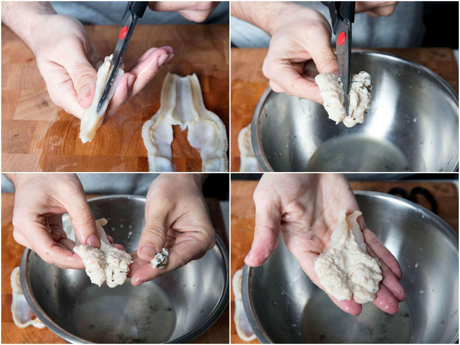 Collage demonstrating the process of butterflying the razor clam's digger foot and removing the brown bits