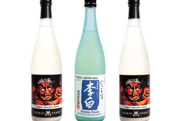Three different bottles of nigori sake