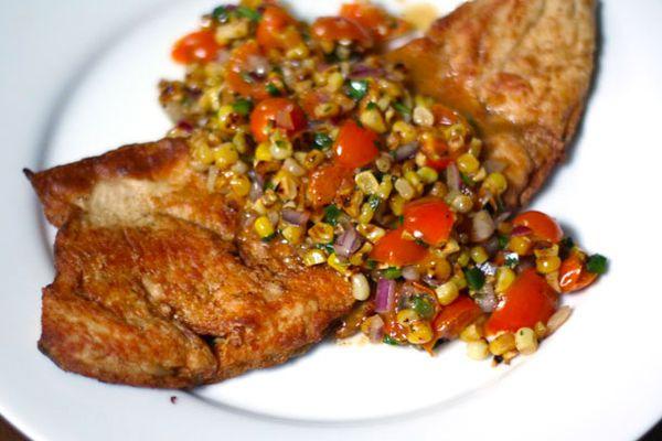Crispy Fish with Charred Corn and Sun Gold Salsa