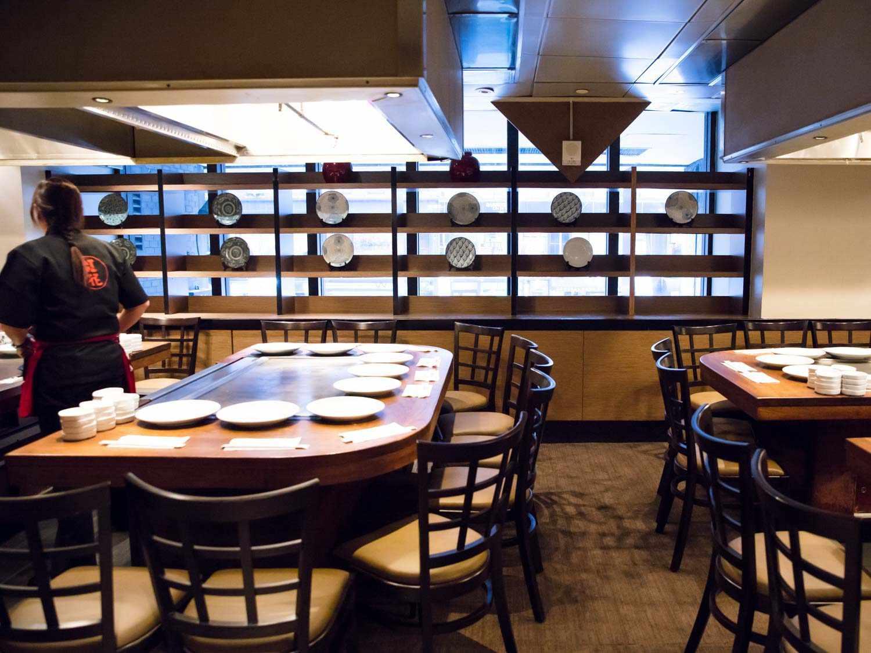 Decorative plates on display at Benihana's flagship location in Manhattan