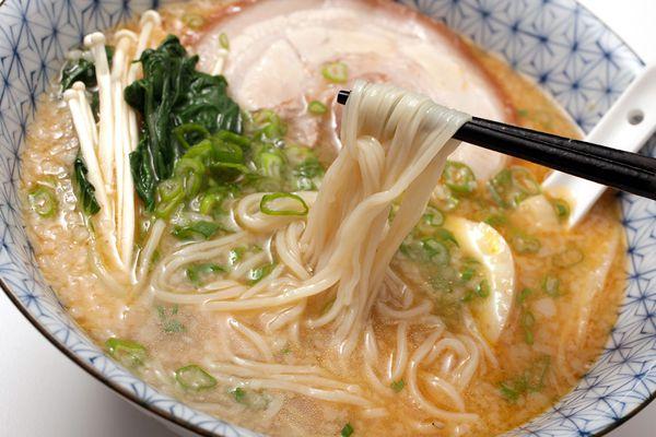 A bowl of ramen noodle soup; you can transform regular pasta into ramen noodles with baking soda.