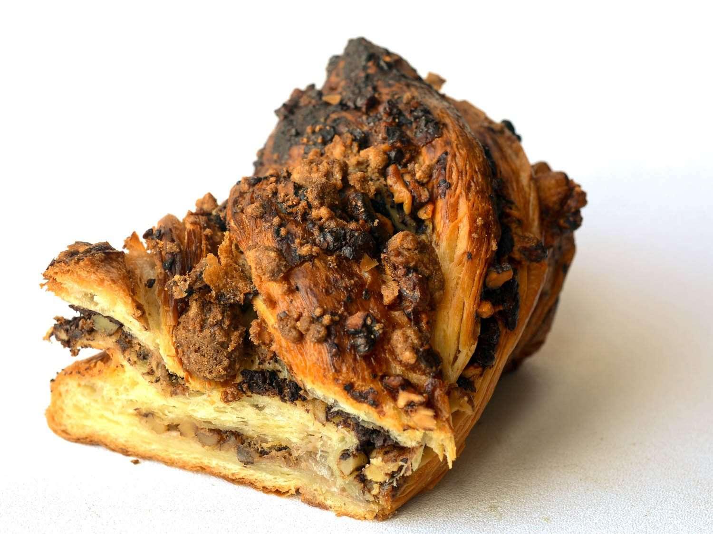 Cross section of croissant-like chocolate babka.