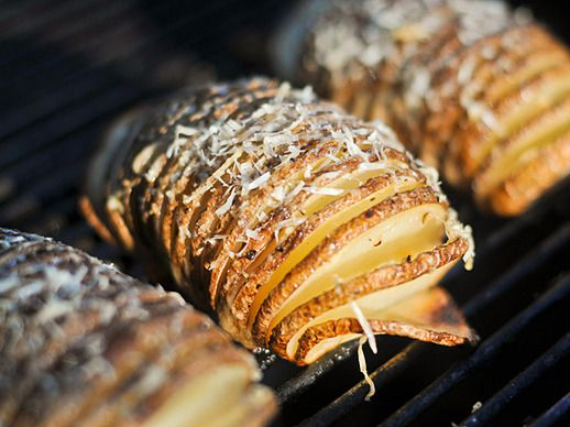 Grilling: Hasselback Potatoes with Garlic and Parmesan