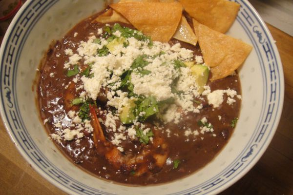 black bean soup with tortilla chips