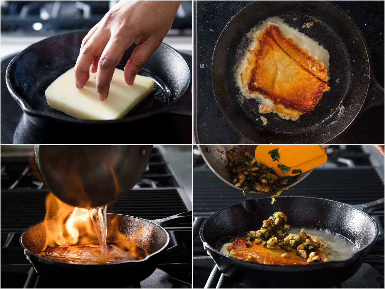 Pan frying cheese in a cast iron, pouring over flaming liquor, finishing with walnut vinaigrette